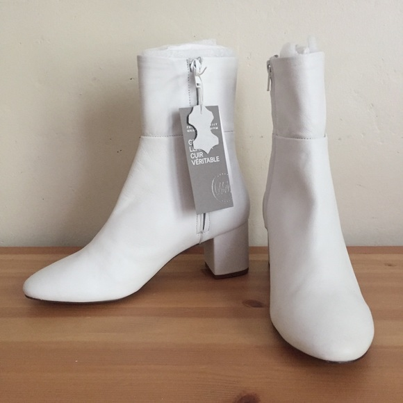 90bb0deddd0 NWT H M White Leather Ankle Boots Sz 37  US 6